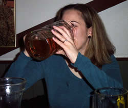 Leigh, with a half filled stein